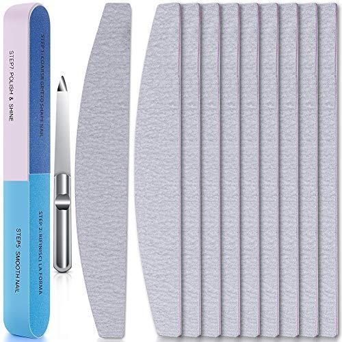 Duaiu - Kit per la manicure, 12 pezzi, con limette di carta smeriglio e limetta in acciaio inox per unghie, doppio lato, per la cura delle unghie in acrilico e naturali