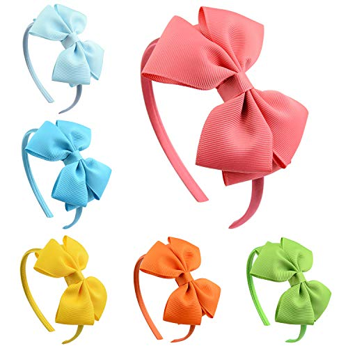 ZOCONE Fiocco Cerchietto per capelli Bambine, 6 Pezzi Ragazze Cerchietto per Capelli Cerchietto per Capelli Bambine, 6 Colori (Rosa)