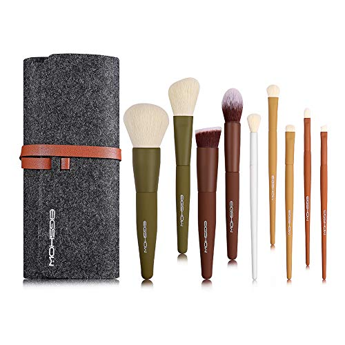 Pennelli per trucco, EIGSHOW Set di pennelli per trucco da viaggio Kabuki 5 colori essenziali con fibre sintetiche extra morbide per correttori di fard in polvere Contorno e illuminante