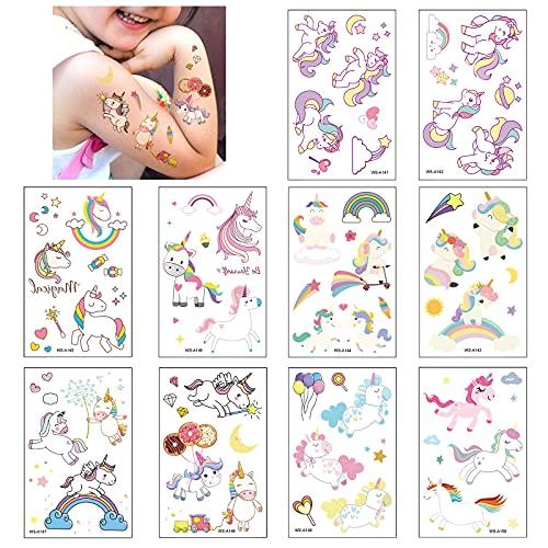 10 Fogli Tatuaggi Temporanei per Bambini, Unicorno Tatuaggi Finti Tattoo Adesivi per Ragazzo Ragazza Festa di Compleanno Sacchetti Regalo Giocattolo