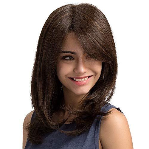 Esmee Parruca Marrone scuro da 16 pollici,parrucca sintetica resistente al calore a capelli lisci naturali da donna.