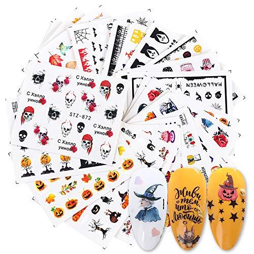 MWOOT 24 Fogli Adesivi per Unghie,Halloween Nail Art Water Transfer Sticker, Home Decalcomanie per Bomboniere per Le Unghie DIY Nail Tips Decorazioni