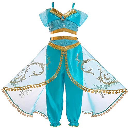 FYMNSI Vestito Jasmine Costume Bambina Carnevale Cosplay Ragazze Arabo Aladdin Principessa Vestire Festa di Compleanno Halloween Abiti Danza Top Pantaloni e Mantello Teatro Danza Costume Blu 5-6 Anni