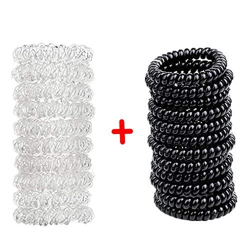 Capelli gomma (spirale plastica), cavo telefonico, elastici, ornamenti per i capelli set di 20, di colore nero e trasparente, dal marchio PPX