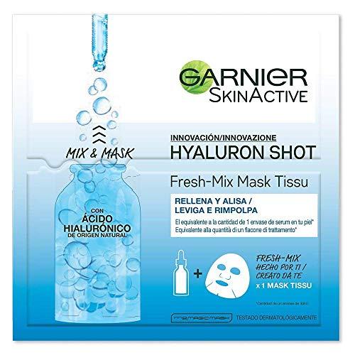 Garnier Maschera in Tessuto Skin Active Fresh Mix, Formula Arricchita con Acido Laluronico, Pelle Levigata e Rimpolpata, Confezione da 3 Pezzi