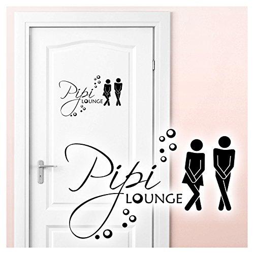 Grandora W755 Tatuaggio a Muro Pipi Lounge Uomo Donna I Nero 27 x 18 cm I WC Adesivo Porta Pittogramma Terme Bagno Autoadesivo da Muro Adesivi murali
