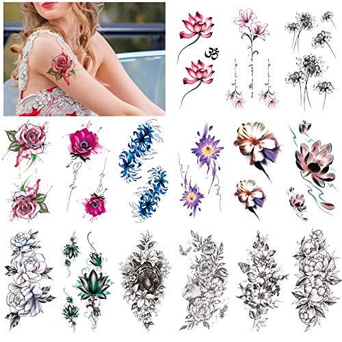 HOWAF 15 fogli peonia rosa tatuaggio temporaneo braccio impermeabile flora tatuaggi temporanei donne adulti ragazze grande sexy tatuaggi finti tattoo temporanei
