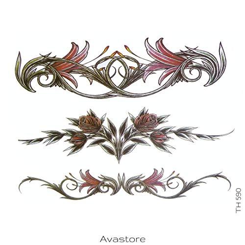 AVASTORE - Tatuaggio temporaneo da donna, tribale, fiore di giglio, sexy, tatuaggio temporaneo, da donna