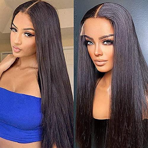 PORSMEER Lace Parrucche Frontali naturale donna parrucca marrone lunghi liscia lace front wig 24inch color Castana