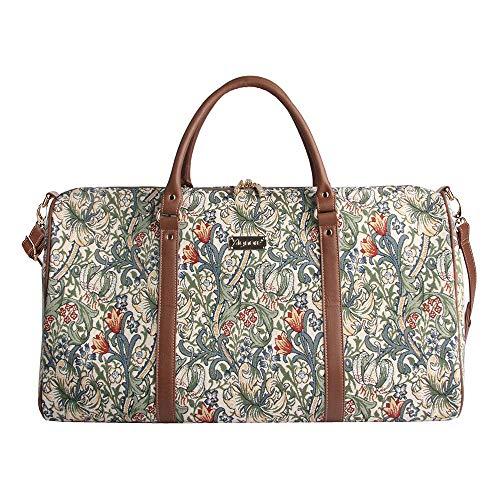 Signare Tapestry Arazzo Grande Borsone da Viaggio Donna, Borsone Palestra Donna con William Morris Designs (Giglio d'oro)