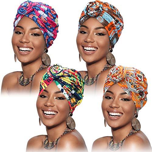 SATINIOR 4 Pezzi Turbanti per Donne Modello Africano Cappello Turbante con Nodo Pre-Annodato a Fascia Berretto (Fiore Giallo Rosa Arancione)