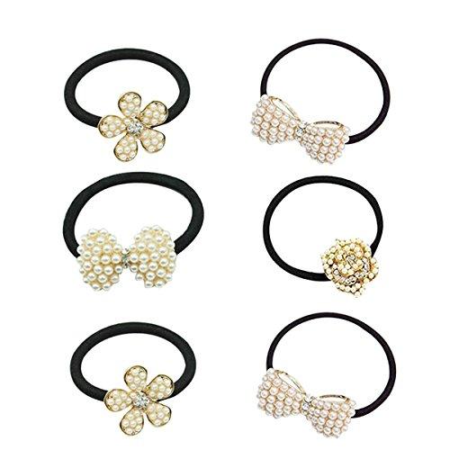 Frcolor Capelli corda legame con decorazione di strass e perline Fasce capelli strette per le donne e le ragazze(6 pcs)
