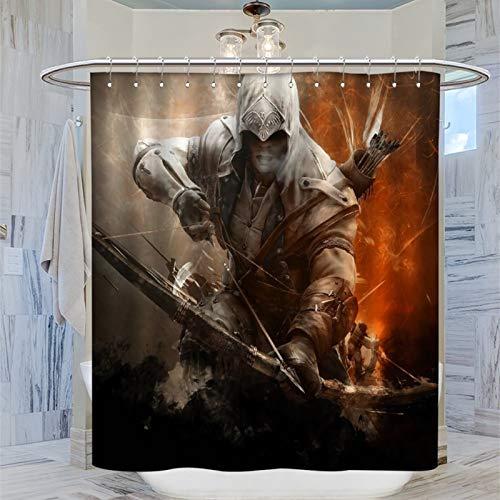 SSKJTC - Decorazione moderna per la casa Assassin's Creed III Game Connor Kenway disegna un fiocco in tessuto stampa artistica da bagno, 183 x 183 cm