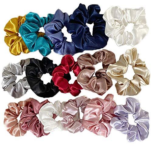 Set di 16 elastici per capelli in fibra di seta, elastici per capelli, elastici per capelli, elastici per capelli, per ragazze, donne, donne, 16 colori