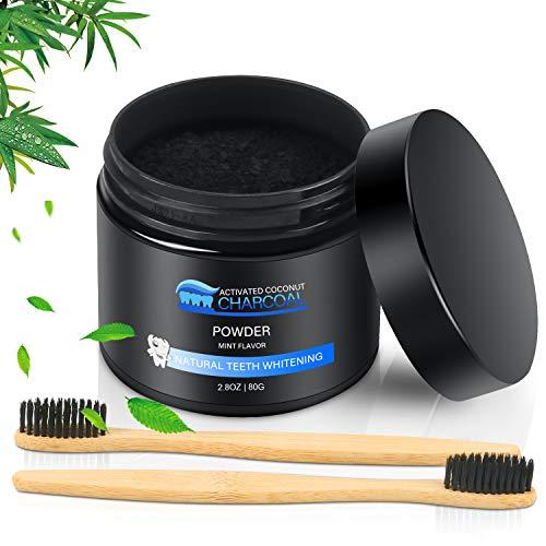 Sbiancamento Denti, Carbone Attivo Sbiancante per Denti 100% Naturale & ingredienti di cocco biologico, Pulizia Profonda(includere 2 spazzolini in legno di bamboo)