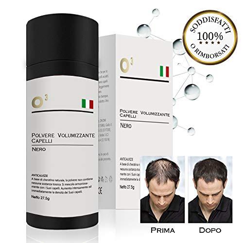 O³ Polvere Volumizzante Capelli-Polvere di Cheratina PREMIUM per Uomo e Donna-27,5gr Netto di Polvere densificante capelli i barba-Fibre Colore Nero