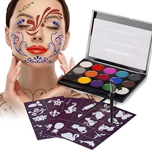 Xpassion - Body Painting e Pittura Facciale 15 Colori,Trucco Bambini e Adulti per Halloween,Carnevale,Settimana Santa,Feste,Compleanno,Discoteca,Natale,ecc.
