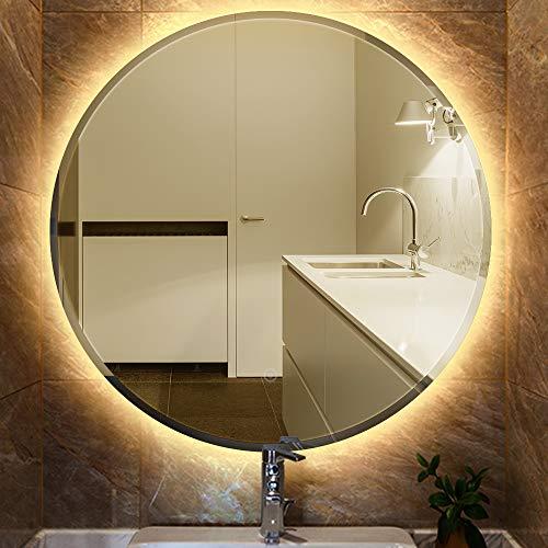 MUPAI Specchio Bagno Rotondo a Parete, con Specchio Luminoso a LED, con Interruttore tattile e Funzione Nebbia, Diametro 60 cm / 70 cm / 80 cm (Bianco Caldo, 60cm)