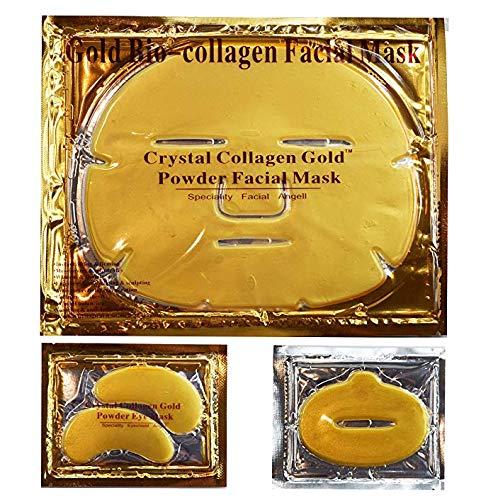 24 K Oro Bio Collagene Cristallo Maschera,7 X Maschere Facciali + 7 X Eye Masks + 7 X Lip Maschere. Anti Invecchiamento Cura Della Pelle, Anti Rughe, Idratante, Firm, Tone, Brighten Skin, Natural Lift