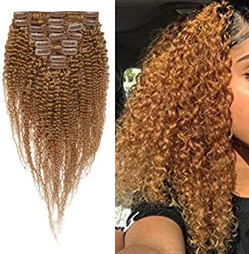 Extension Capelli Veri Tessitura Clip Ricci Extension Cucitura Matassa Africana Kinky Curly Remy Human Hair 8 Fasce Naturali Corti, 25cm 100g 27 Biondo Scuro