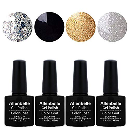 Allenbelle Smalto Semipermanente Nail Polish UV LED Gel Unghie (Kit di 4 pcs 7.3ML/pc) 017
