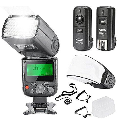Neewer NW-670 TTL Flash Kit per Fotocamera DSLR Canon con Flash, 2,4 GHz Trigger Wireless, Diffusore Duro& Soffice, Copriobiettivo, Cavo C1, Cavo C3