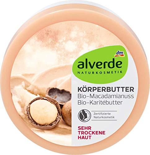 alverde NATURKOSMETIK, burro per il corpo, con burro di karité e noce di macadamia bio, 200 ml