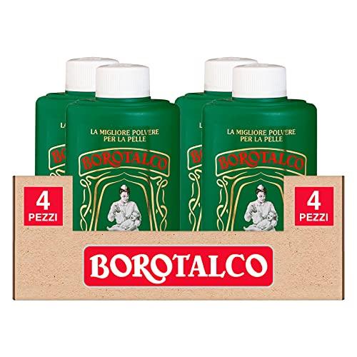 4x Borotalco Talco in Polvere Multiuso Super Assorbente e Rinfrescante anche per Pelli Sensibili - 4 Flaconi da 200g Ognuno