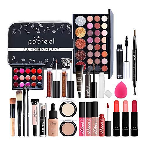 Novalight All In One Makeup Kit For Women, Girls Full Kit Makeup Set, Cosmetic Starter Kit, With Eyeshadows, Rossetto, Cosmetic Brush, Powder Puff, Makeup Bag