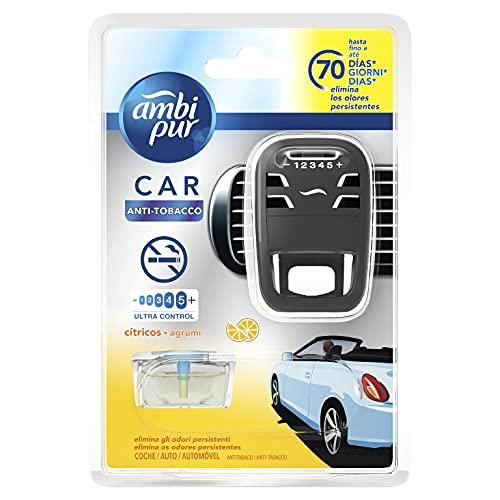 Ambi Pur Deodorante Auto Diffusore e una Ricarica, Profumo Antitabacco, Elimina Odori Facile da Agganciare, Durata fino a 70 Giorni