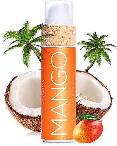 COCOSOLIS – Abbronzante con Vitamina E, Olio Corpo Abbronzante – Crema solare Bio Oil per un'Abbronzatura Cioccolato – Sei oli naturali per una Pelle Sana e Radiosa, aroma di mango tropicale (110 ml)