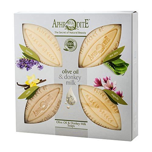 Aphrodite Set di 4 saponi all'olio d'oliva e latte d'asina. Sapone naturale con latte d'asina e profumi unici per una pelle ben curata (340g / 11,50 once)