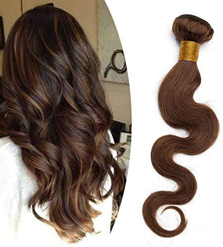 Elailite Extension Capelli Veri Tessitura Matassa 60cm 1 bundle Virgin Human Hair Unprocessed Ricci Mossi 100g #4 Marrone Cioccolato