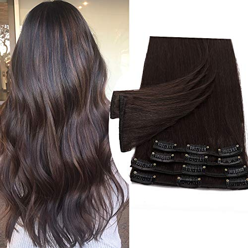 45cm/50cm/55cm Extension Capelli Veri Clip 8pz 18 Clips 100% Human Hair Testa Intera Resistente al Calore