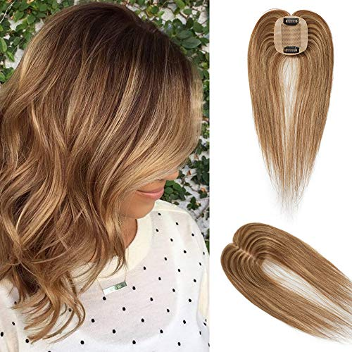 Extension Clip Capelli Veri Topper Capelli Veri Donna Umani Silk Base Toupee 100% Remy Human Hair Lisci Naturali, 35cm #4/27 Marrone Medio/Biondo Scuro