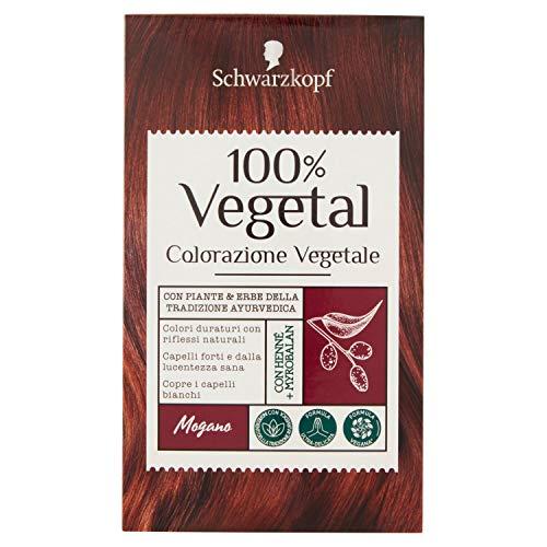 Schwarzkopf 100% Vegetal, Colorazione Vegetale per Capelli, Tinta per Copertura dei Capelli Bianchi, Formula Vegana Ultra Delicata, Mogano