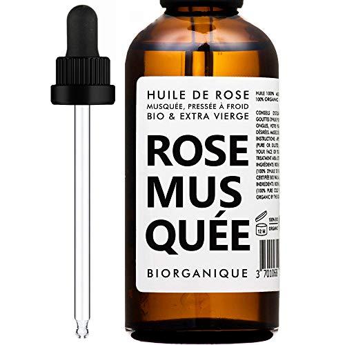 Olio di Rosa Mosqueta/Canina BIOLOGICO - 100% Puro, Naturale, Spremuto a Freddo e Biologico - 50 ml - Trattamento Anti invecchiamento, Pelle, Cicatrici e Smagliature.