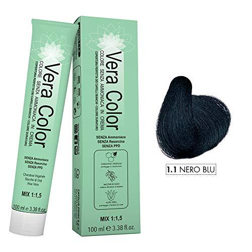 Vera Color - Nero Blu 1.1 - Colorazione Professionale Permanente in Crema Senza ammoniaca con Cheratina Vegetale, Aloe Vera e Bacche di Goji - Copertura Totale dei Capelli Bianchi - 100ml