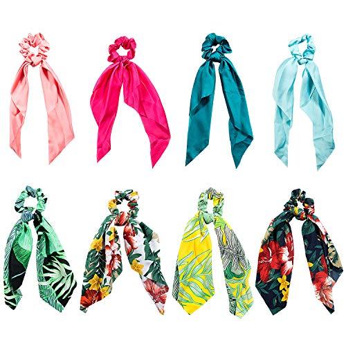 Elastici Capelli Donna, Comius 8 Pcs Scrunchies per Capelli, Cravatte Sciarpa con Motivo a Fiori per coda di Cavallo, 2 in 1 Bowknot Vintage Corde per Donne e Ragazze (A)
