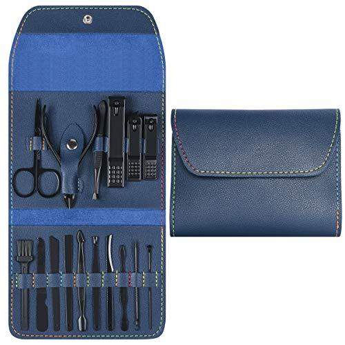 URAQT Set Tagliaunghie Unghie, Set Manicure Tagliaunghie, Strumenti per Manicure e Pedicure, Tagliaunghie Set Professionale con Box PU, 16 Pezzi