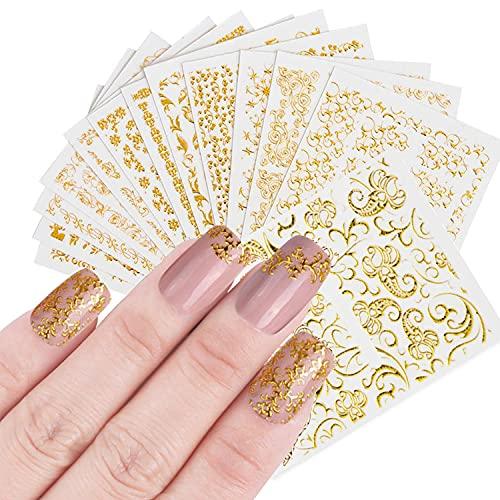 TSHAOUN 20 Fogli 3D Glitter Oro Adesivi per Unghie Artistiche Decalcomanie per Unghie Disegni per Arte Unghie Autoadesivi Decorazioni per Manicure per Donne Ragazze Bambini (Oro)