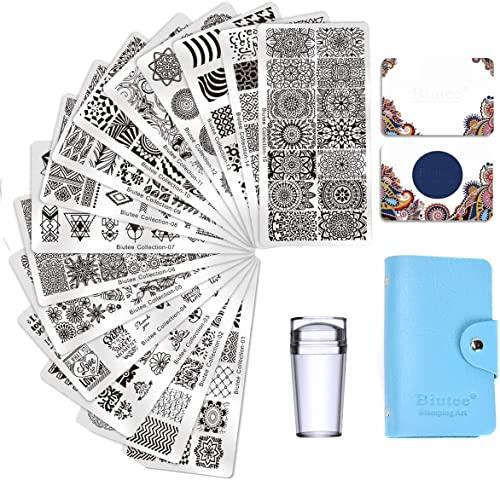 Biutee Set di Nail Art Stamping 15pcs Nail Template Piastra per Unghie+ 2pcs Raschietto+1pcs Stamper per Manicure