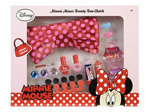 Markwins, elegante astuccio per il trucco e set di bellezza di Minnie, con trucco idrosolubile per bambini, fantastici gioielli e due separatori per dita