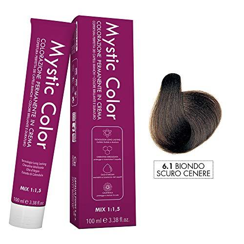 Mystic Color - Colore Biondo Scuro Cenere 6.1 - Tinta per Capelli - Colorazione Professionale in Crema a Lunga Durata - Con Cheratina Idrolizzata, Olio di Argan e Calendula - 100 ml