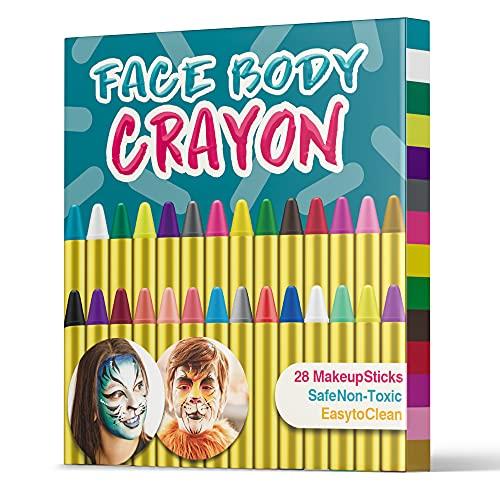 UNEEDE Face Painting Pastelli Colori Face e Body Paint Sticks Halloween Makeup Face Paint Pastelli per i più Piccoli, Kids, Children Party, Sicurezza Non tossica (28pack)