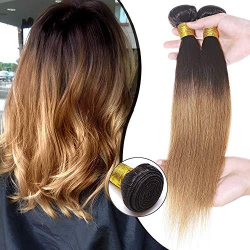 Elailite Extension Tessitura Capelli Veri Matassa Naturali Lisci 40cm 100g Una Ciocca Unprocessed Virgin Human Hair Brasiliani #1B Nero Naturale/#27 Biondo Scuro