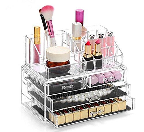 display4top cosmetico dell' organizzatore di immagazzinaggio, Make Up dell' organizzatore di immagazzinaggio Cosmetici per Bagno Desktop (4 cassettiere Traparente)