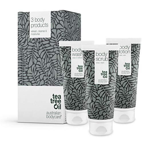 Australian Bodycare | Set di 3 prodotti corpo per brufoli e punti neri su schiena e glutei | Kit per l'acne al tea tree oil | Specifico per prevenire i problemi della pelle