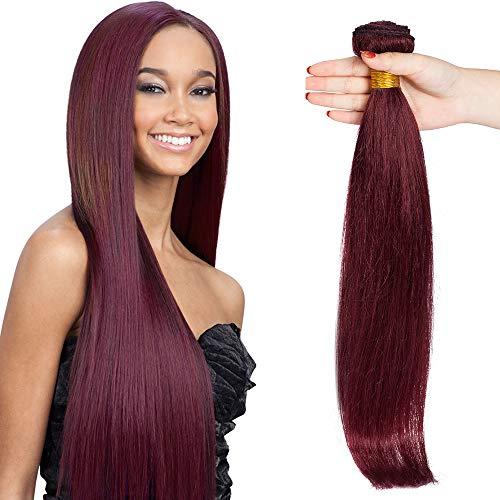 SEGO Extension Tessitura Capelli Veri Matassa Virgin Human Hair Lisci 100g/bundle Hair Extensions Rosse da Cucire Umani Brasiliani 55cm #99J Vino Rosso