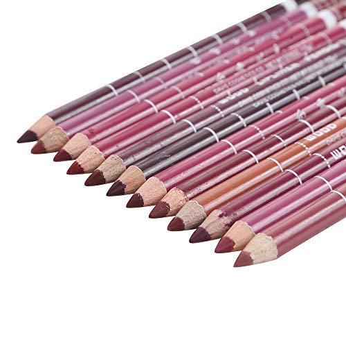Beyond Dreams® 12 Lip Liner Pencil Lipliner Brown Nude Pink Red Tones | Lipstick Liners Set Lipliners | Light Dark Shades Pencils for Lips Make-up